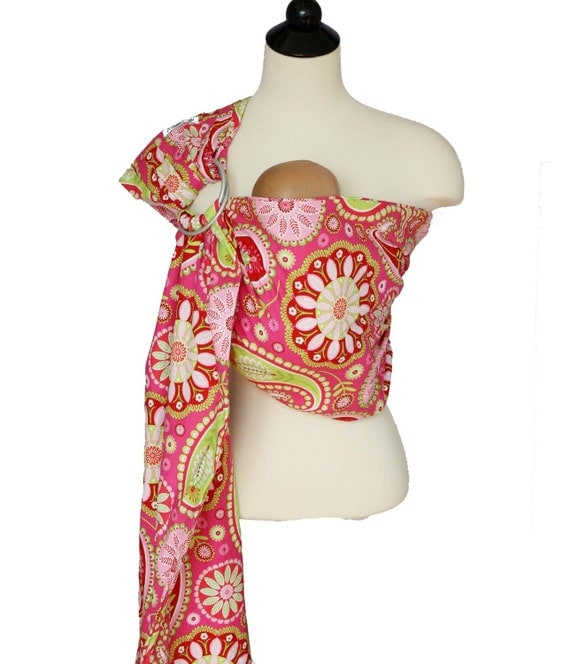 Baby Carrier Ring Sling Baby Sling - Pink Paisley - FAST SHIPPING - Instructional DVD Included