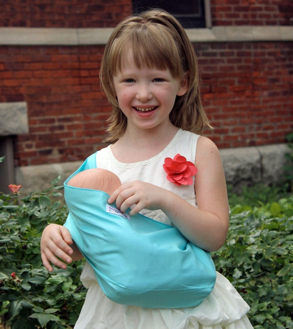 Baby Doll Sling Toy Pouch Style Doll Carrier - Aqua Blue - FAST SHIPPING
