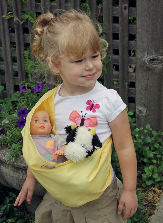 Baby Doll Sling Toy Pouch Style Doll Carrier - Buttercream Yellow - FAST SHIPPING
