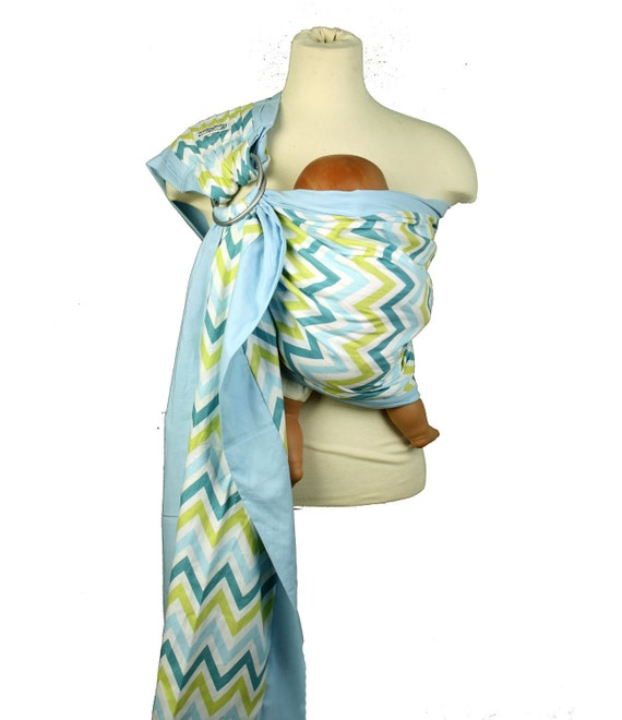 Baby Sling Prestige Ring Sling Baby Carrier - Blue Chevron - Instructional DVD Included  - FAST SHIPPING