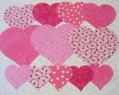 Pink Hearts Fabric Appliques - Time Saver Kit by SEWFUNQUILTS - Hearts Iron On Fabric Appliques
