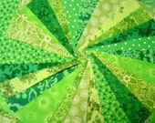 Lime Green Fabric Squares -  Quilt Charm Squares by SEW FUN QUILTS Time Saver Quilt Kit -