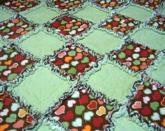 Raggy Flannel Lap[ Quilt  - Mint Green, Chocolate -  Candy Hearts Quilt by Sew Fun Quilts