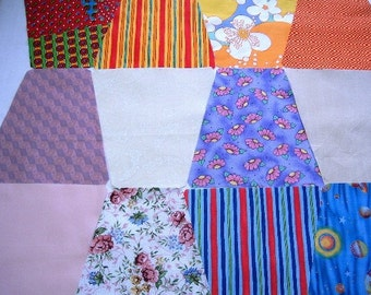 Quilt Blocks Kit - Tumbler Scrappy Quilt Kit  - Time Saver Quilt Kit by SEWFUNQUILTS -