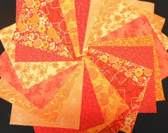 Orange Quilt Fabric Charm Squares -  SEW FUN QUILTS Time Saver Quilt Kit -