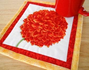 Quilted Flower Mug Rug  - Moda Fabric - Large Coaster - Candle Mat - Red Mum