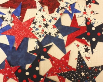 Patriotic Stars Iron on Fabric Appliques - Red White Blue