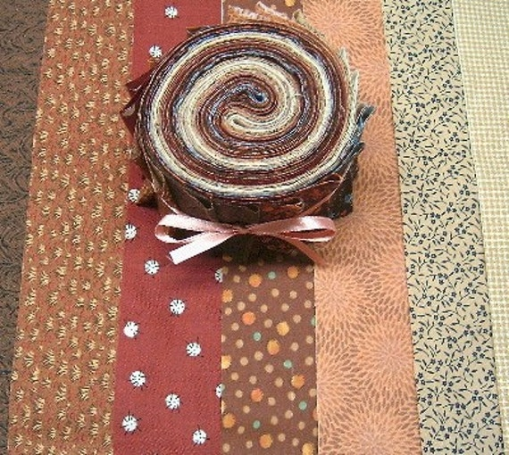 COCOA FABRIC JELLY ROLL - 2 1\/2 inch wide strips -  SEW FUN QUILTS Time Saver Kit