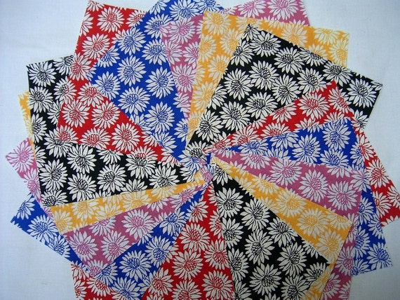Quilt Fabric Squares -  Daisies  4 inch squares - Sew Fun Quilts  Time Saver Kits -