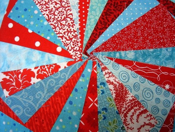 Red and Aqua Quilt Charm Squares - Die Cut Cotton Fabric Squares by SEW FUN QUILTS