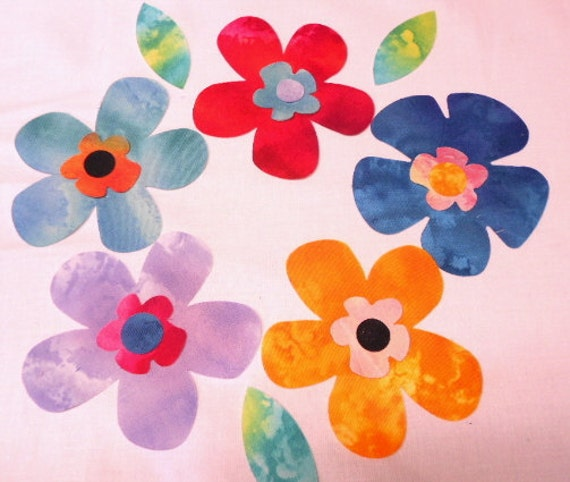 Flower Fabric Appliques - 18 Pieces Fun Flowers Iron On Fabric Appliques - Time Saver Kit by SEWFUNQUILTS