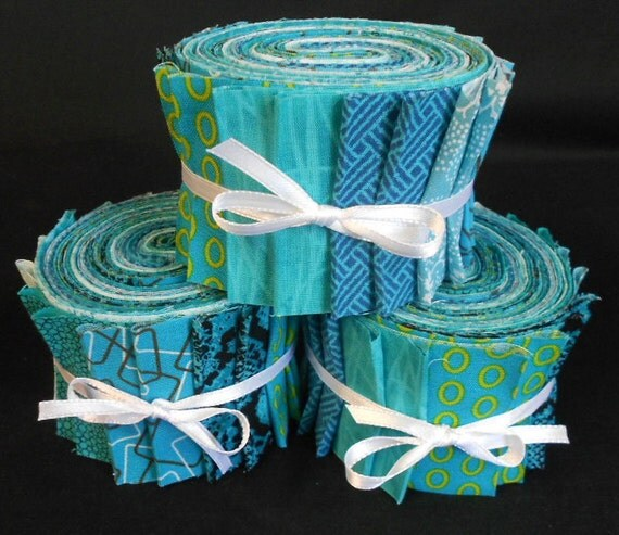 Jelly Roll Fabric Strips Quilt Kit - Aqua Time Saver Quilt  Kit by SEW FUN QUILTS