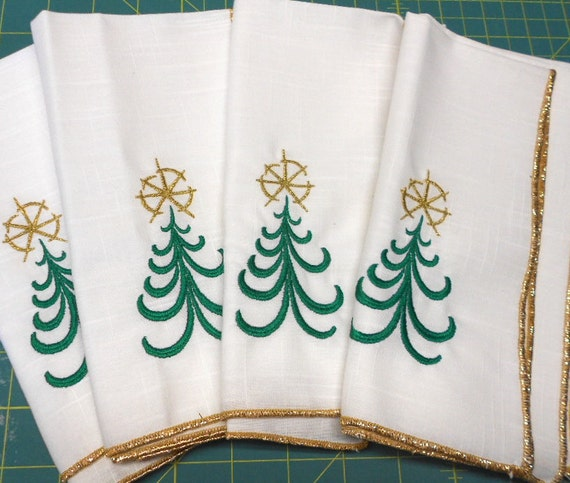 Christmas tree napkins gold embroidery modern by sewfunquilts