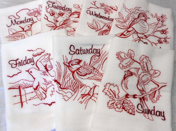 Bird Dishtowels Embroidered Flour Sack Towels - Cardinals - Woodpecker - Hummingbirds by SEW FUN QUILTS