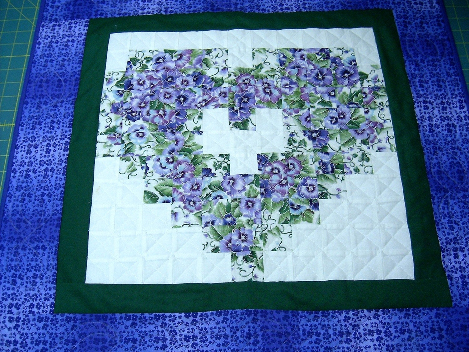 Purple Pansy Quilt Heart Shape Watercolor Wall Hanging Quilt
