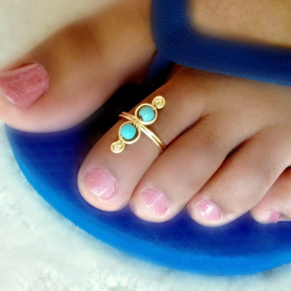 Turquoise Swirl Toe Ring