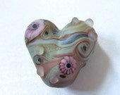 Washed Shores Etched Lampwork Heart Focal Bead. SRA UK FHFteam Y3