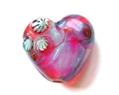 Clio Shimmer Heart Lampwork Bead Focal SRA UK FHFteam Y3