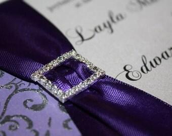 Satin and Rhinestone Embossed Wedding Invitation