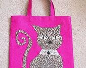 Cat Market Tote Bag - Hot Pink - Cheetah Cat  - Pink  Bag  Tote