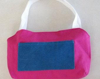 Hot Pink and Teal Purse Denim With Front Pocket Medium