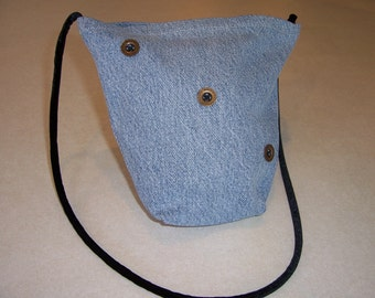 Denim Purse or Hand Bag Small Brass Button Embellished