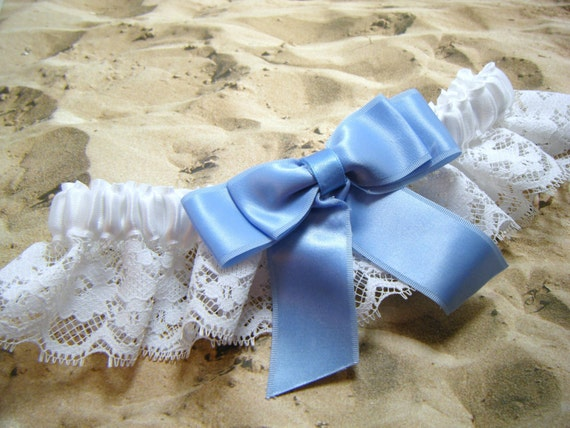 White Lace with Blue bow Wedding Garter