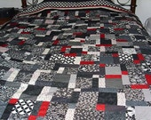 Black and White and Red All-over Disappearing 9-Patch Quilt