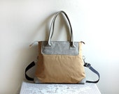 Save 10% w/ Coupon Code--Aideen Convertible Purse/ Handbag in Lt Grey Leather and Goldenrod Twill/ Spring/Summer -- Ready to Ship--