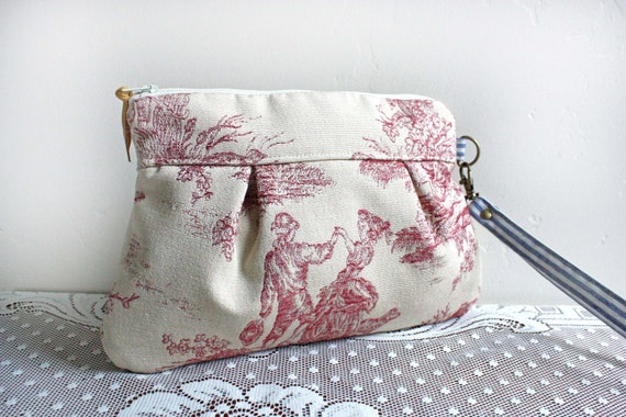 Save 10% w/ promo code--Kitt Wristlet/ Pouch/ Makeup bag/ Wallet in Romantic Countryside Upholstery Fabric--Ready to Ship--