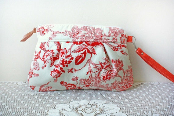 Save 10% w/ promo code--Kitt Wristlet/ Pouch/ Makeup Bag in Coral Red/Natural Toile Print--Ready to Ship--