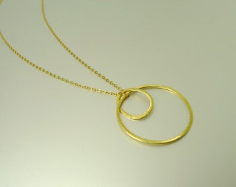 Gold Double Ring Necklace