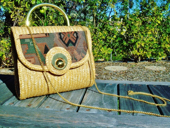 Woven Tapestry and Wicker Straw Shoulder Bag