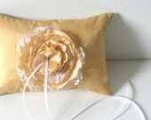 Gold Silk Dupioni Ring Pillow with Handmade Silk and Lace Flower