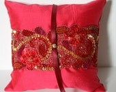 CLOSEOUT Vibrant Pink, Gold and Purple Silk Dupioni Ring Pillow