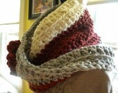 SALE  The Tube Scarf in Cinnamon Apple, Marble Gray, and Ivory