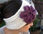 Super Warm Ear Warmers/ Neck Warmer in Ivory with Purple Flower