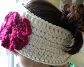 SPECIAL ORDER FOR KACY- Super Warm Ear Warmers/ Neck Warmer in Ivory/Red