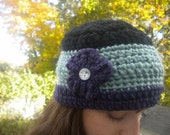 SALE Blue, Purple, Black Cloche Hat with a Flower and Sparkly Button