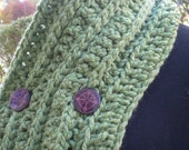 Let's Neck. The Chunky Necker in Grassy Green with Purple Buttons.