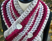 SALE  Let's Neck. The Candy Stripe Chunky Necker in Cranberry and Linen.