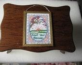 Doll House Miniature Cross Stitched Sampler framed