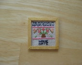 Dolls House Miniature Cross Stitched Sampler