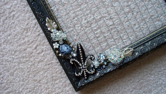Earring Display Frame with Vintage Jewelry