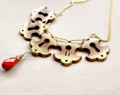 Gold Vintage Key Plate Necklace with Coral Red Droplet - Steampunk Industrial