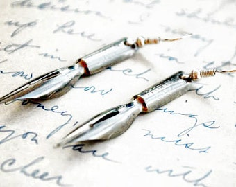 Antique Fountain Pen Nib Earrings - Gifts for Writers and Shakespeare Lovers
