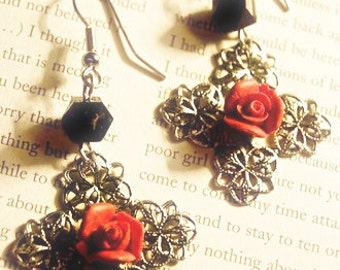 Maria Earrings - filigree rose dangles
