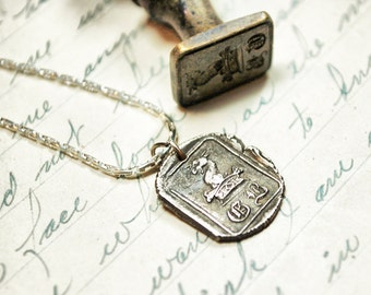 Heraldic Monogram Antique Wax Seal Initial Pendant in Pure Silver
