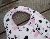 Pink and Black Cow Designer Bib with Plush Pink Minky- For Baby to Toddler