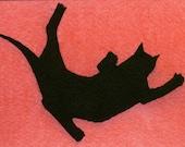 Falling Cat in Red FINE ART PRINT aceo